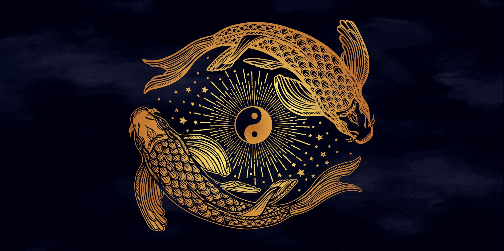 Ethnic fish Koi carp with symbol of harmony